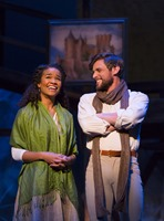 Camelot TRTC 11-15-14 035<br />Camelot at Two River Theatre Company<br />November 15, 2014 - December 14, 2014<br />Book and Lyrics by Alan Jay Lerner<br />Music by Frederick Loewe<br />Original Production Directed and Staged by Moss Hart<br />Based on The Once and Future King by T.H. White<br />Music Direction and Orchestrations by Steve Orich<br />Choreography by Mark Esposito<br />Directed by David Lee<br />Set Design: Scott Bradley<br />Lighting Design: Michael Gilliam<br />Costume Design: Tilly Grimes