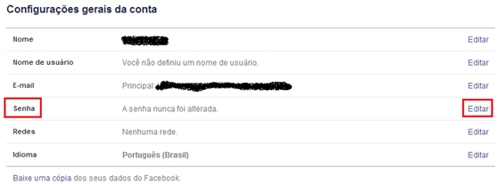 Alterar senha do Facebook