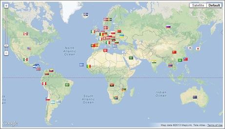 Mapa de Paises Visitantes