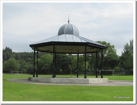 100 year old band stand Dalbeattie Park. The uprights are gas street light standards from Glasgow.
