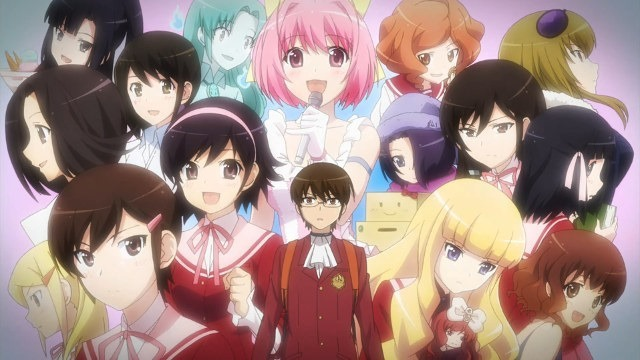 Keima stands astonished against a backdrop of over a dozen other female characters, all past conquests in the story
