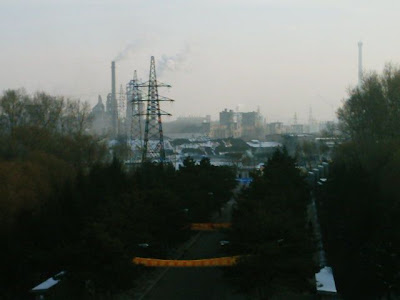 Looking out of my clasroom in main building. Nice view over coalfiled towards powerstattion.