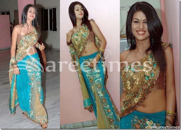 Shraddha_Das_Blue_Embroidery_Lehenga_Style_Saree