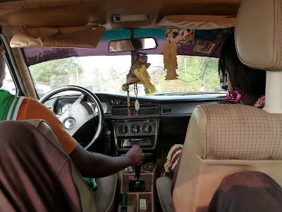 Inside a taxi