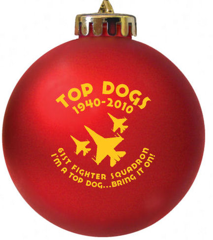 Fighter Squadron TOP DOGS custom ornaments  designed at http://www.fundraisingornaments.com