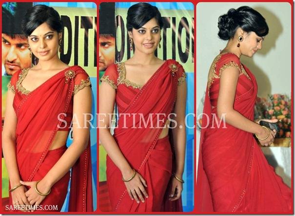 Bindu_Madhavi_Red_Saree