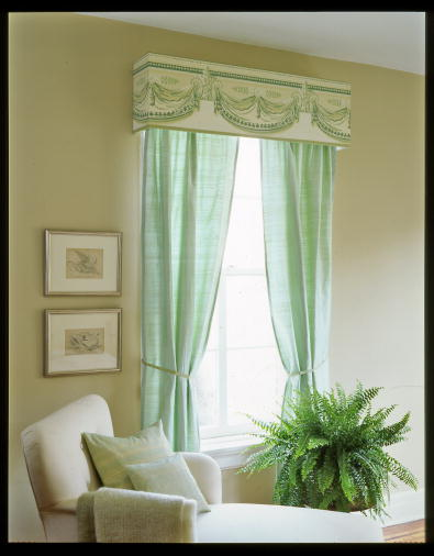 Detailed wallpaper borders make beautiful window valences. (Martha Stewart Living, April 2006)