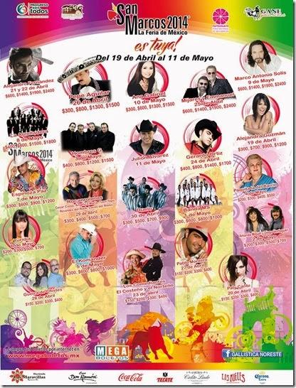 cartelera oficial del palenque 2014 de aguscalientes en la feria nacional san marcos boletos por megaboletos donde comprar