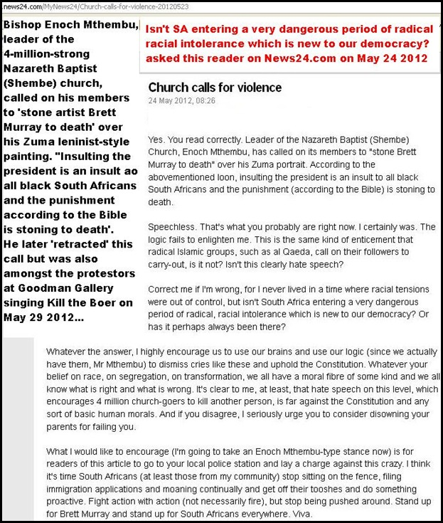 Black racist hatespeech ZUMA painting BAPTIST CHURCH LEADER ENOCH MTHEMBU CALLS FOR STONING TO DEATH OF ARTIST BRETT MURRAY