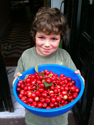 My son, Leo, with the crop.