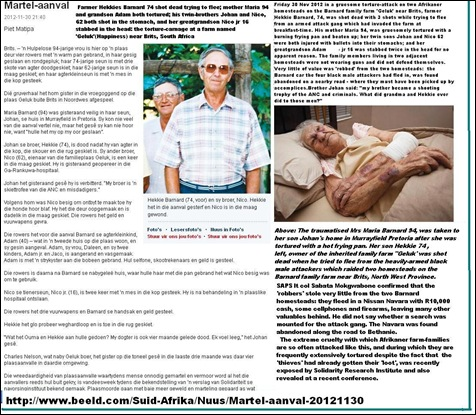 BARNARD HEKKIE 74 TWO FAMILIES ATTACKED OLD MOTHER TORTURED 2 BROTHERS INJURED GRANDSON STABBEDNOV 30 2012
