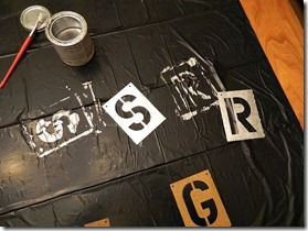 faux metal letters using stencils and paint 2