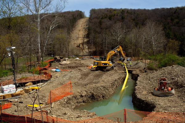 The 2012 drought dropped stream flows and groundwater levels so low that the use of water for natural gas 'fracking' by drillers like these at work in Bradford County, Pennsylvania, was suspended in many parts of the Keystone State. Photo: Les Stone / Corbis