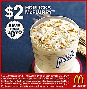 MCDONALDS $2 HORLICKS MCFLURRY OREO COOKIES CREAM DESSERT MCCHICKEN BURGER EGG McMUFFIN $1.50 SAUSAGE McMUFFIN $1 CHEESEBURGER SALE FRENCH FRIES DRINKS HASH BROWN HOTCAKES AUGUST OLYMPICS 2012 GAME DEAL