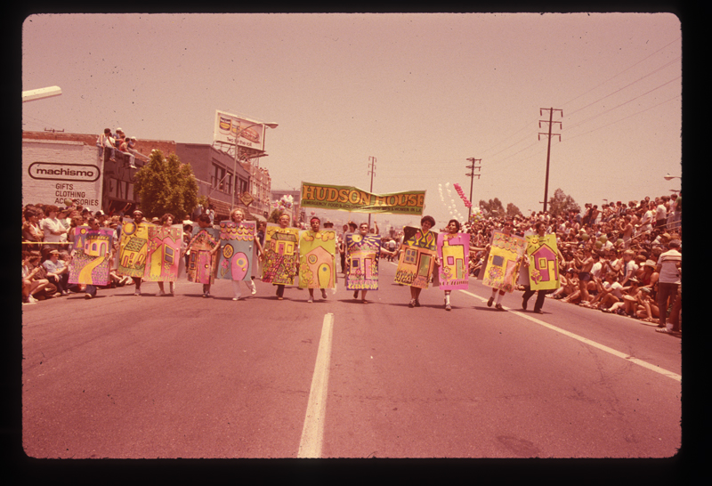 Pat Rocco's Hudson House residents marching in the Los Angeles Christopher Street West pride parade. 1982.