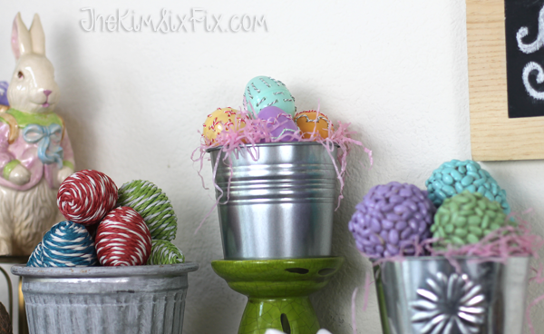 Buckets of easter eggs