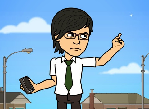 携帯を持って立つBitstrips自画像