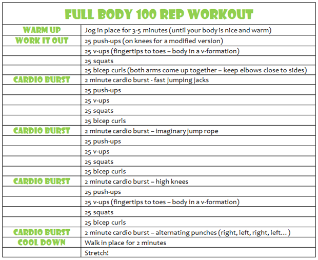 100 rep workout