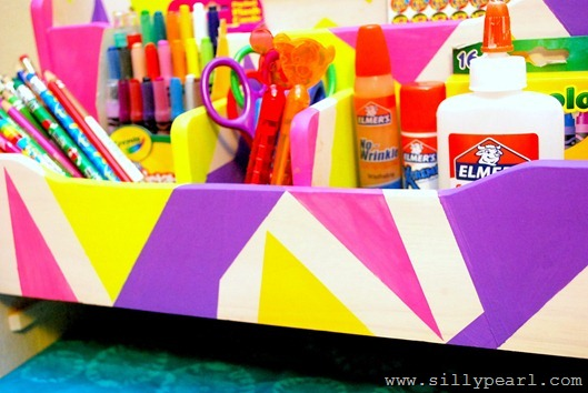 Geometric Painted Organizer for Back to School