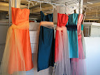 Our bridesmaids dresses and tulle sashes. We hung them up and tried some color combos before the shoot.