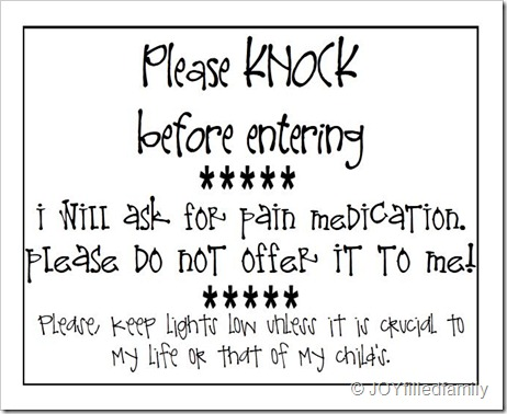 Labor Door Sign