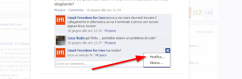 Facebook - la modifica dei commenti