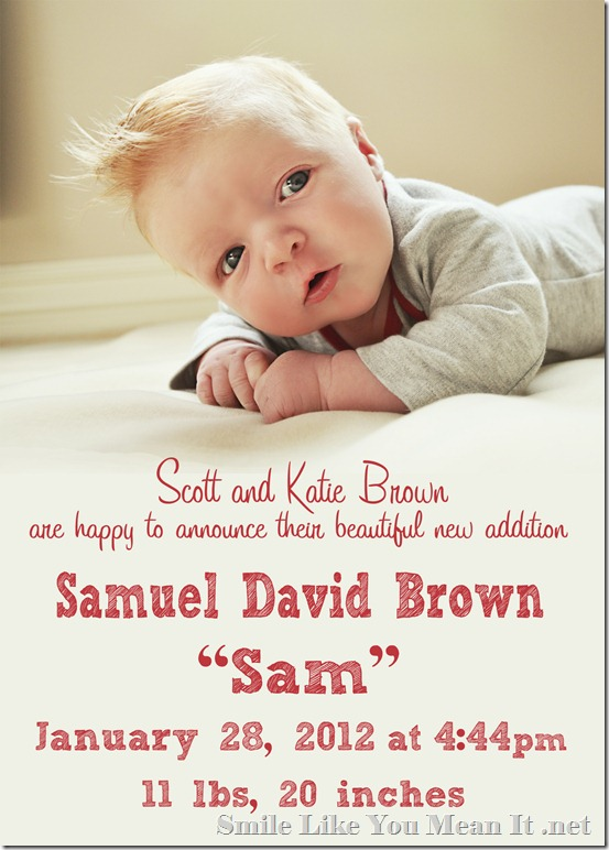 Samuel David Brown Birth Announcement CMYK