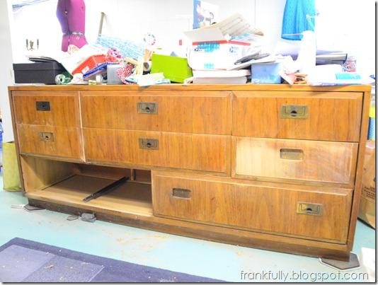 sewing room dresser being sanded