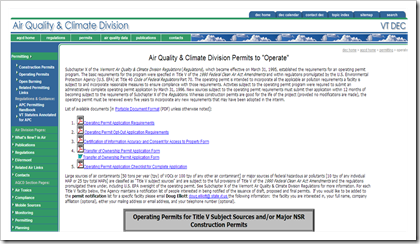 Vermont Environmental Air Quality and Climate Division Permit to Operate