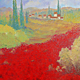 Eternal Summer (big size) by Amas Art - Painting All Painting ( field, red, summer, poppy )