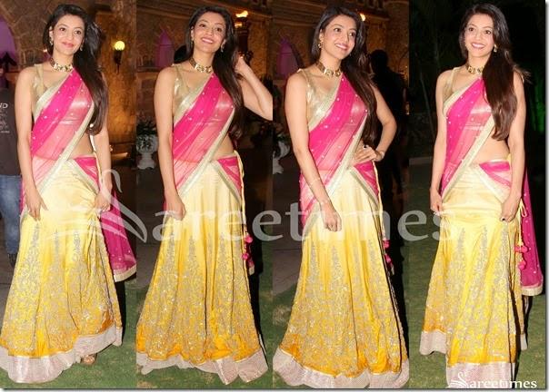 Kajal_Agarwal_Yellow_Pink_Half_Saree