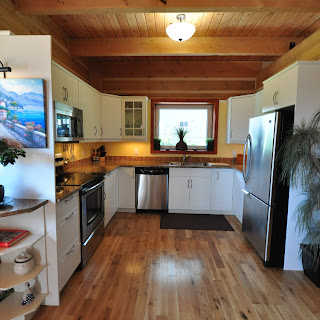 Kitchen of Ecolog how home in Central Saanich
