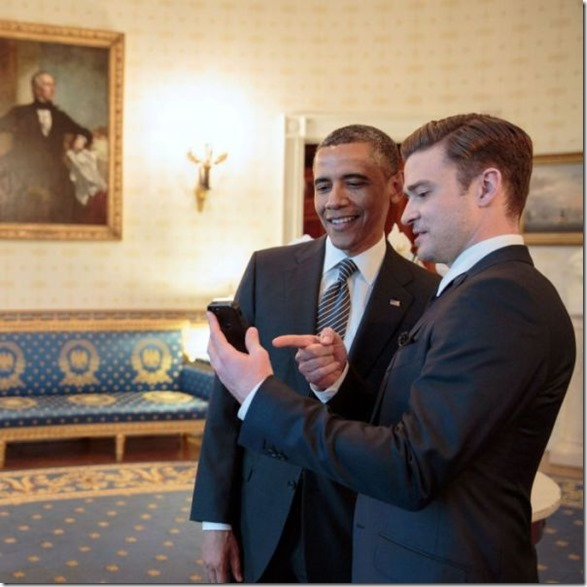 President Barack Obama talks with performer Justin Timberlake in the Blue Room prior to the ŇIn Performance at the White House: Memphis SoulÓ concert in the East Room of the White House, April 9, 2013. (Official White House Photo by Pete Souza) 