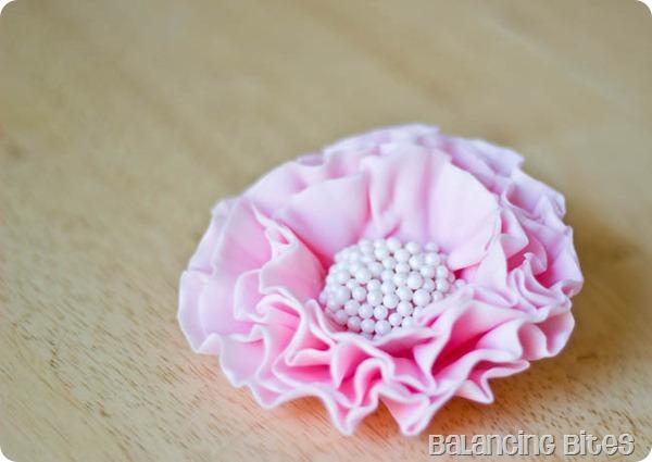 How to make pink ruffled fondant flower