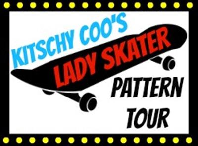 lady skater pattern tour button