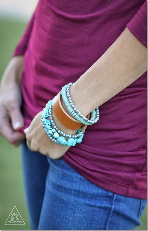 Mix a thin leather cuff with other bracelets