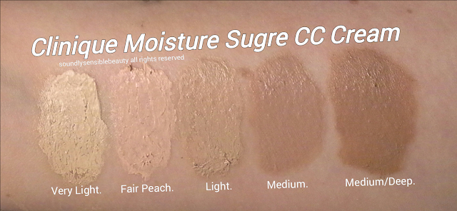 Clinique CC Cream; Moisture Surge, Hydrating Colour/Color Corrector SPF 30; Review & Swatches of Shades Very Light, Fresh Peach, Light, Medium, Medium Deep, Deep