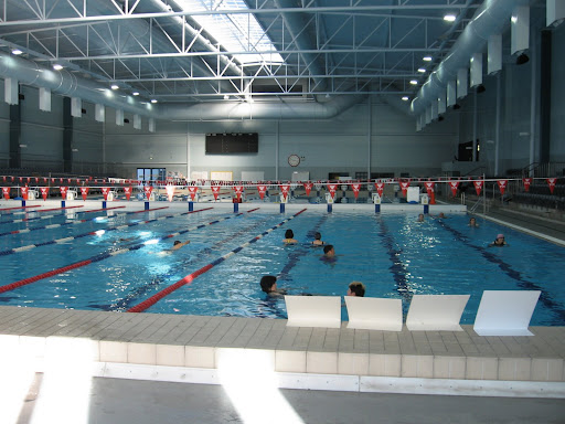 50-meter competition pool. White boards give insturctions for those using the aqua belts for aqua jogging.