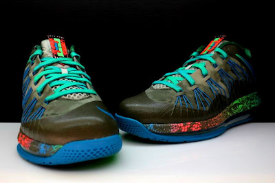 nike lebron 10 low gr black turquoise blue 2 07 Additional Look at Nike LeBron X Low Tarp Green