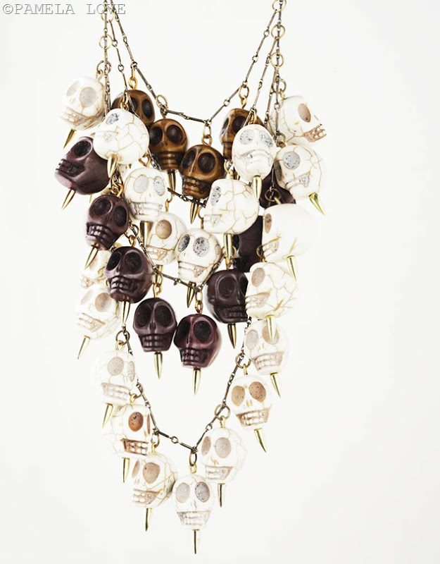 PLPFN9BPRW36_FOUR-TIER-SKULL-NECKLACE-PURPLE-BROWN-amp-WHITE-HOWLITE-IN-BRONZE