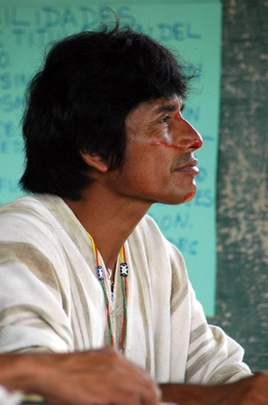Edwin Chota at a meeting discussing the practices of sustainable timber harvesting. Chota was murdered on 8 September 2014 by illegal loggers. Photo: Emory Richey