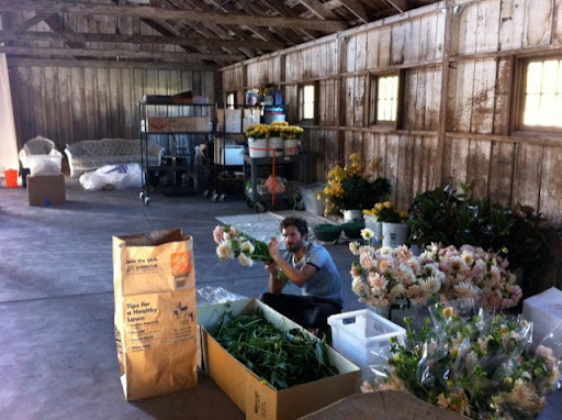 Processing the flowers before making the centerpieces and bouquets.