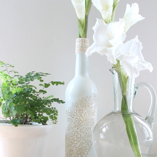 White & Ecru Lace Stenciled Bottle via homework (6)