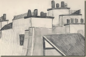 paris roof tops sketch