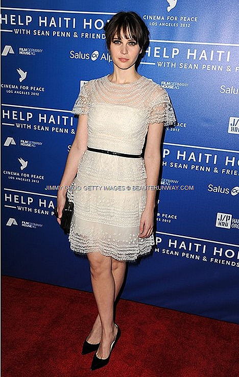 JIMMY CHOO Lilac Point toe pumps FELICITY JONES AT CINEMA FOR PEACE LOS ANGELES