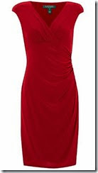 Lauren Ralph Lauren Red Jersey Cap Sleeved Dress