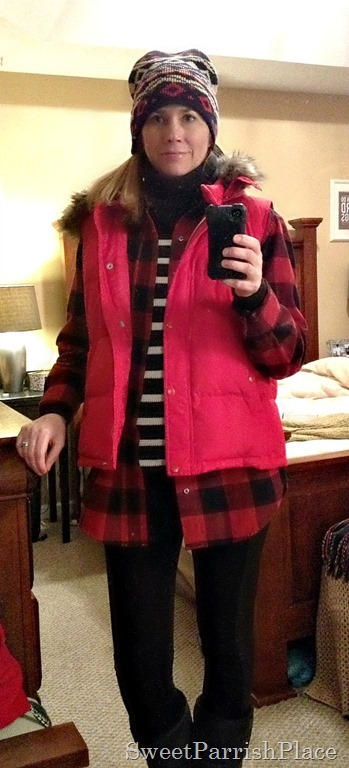 Buffalo plaid stripes and red vest