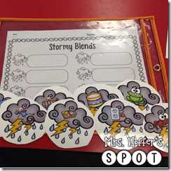 My class is really struggling with blends this year, so I made some storming blends. They can segment words out like champs, but the blends are really hard this year, so a little extra help won't hurt.