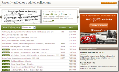 Ancestry.com Recently added or updated collections page