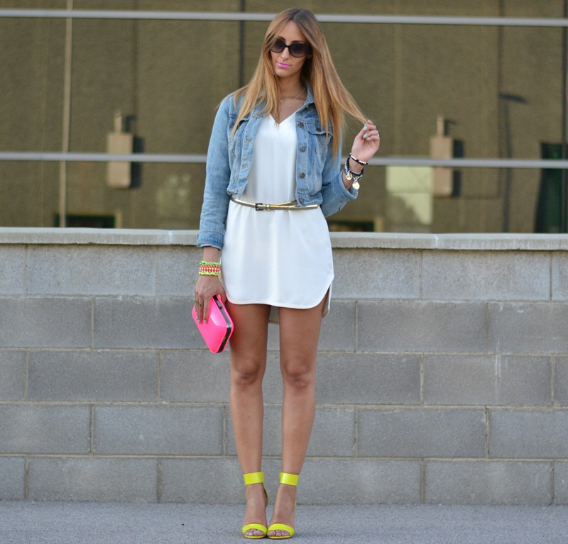 Zara white dress, Zara TRF, Zara Clutch, Neon, Fluo, Oasap.com, Denim Jacket